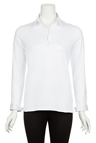 A'Nue Miami Women's Collared and Cuffed, Long Sleeve Formal Shirt, Large, White by A'NUE LIGNE
