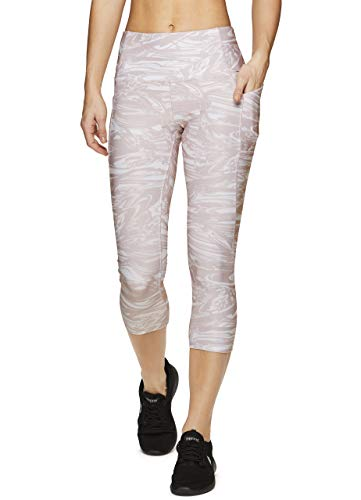RBX Active Women's Tech Pocket Multi Print Yoga Capri Leggings Swirl Multi S