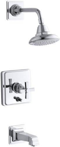 KOHLER K-T13133-3A-CP Pinstripe Pure Rite-Temp Pressure-Balancing Bath and Shower Faucet Trim, Polished Chrome