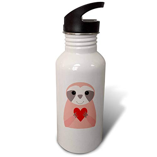 3dRose AllSouthernDesignTees - Zoo Animals - Fun cute pink sloth holding a heart creative cartoon - Flip Straw 21oz Water Bottle (wb_290635_2) by 3dRose