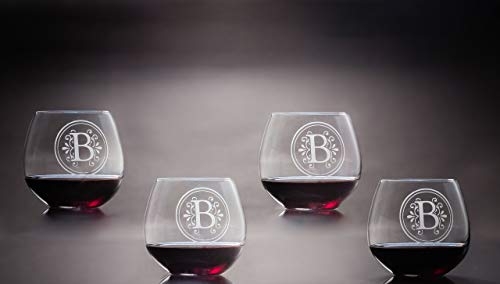 (Personalized Balloon/Red Wine Stemless Glasses, Sheer-Rim, Lead-Free Crystal, Stemless Monogrammed Wine Glasses Designed for Red Wines & Liquors, Set of 4 )