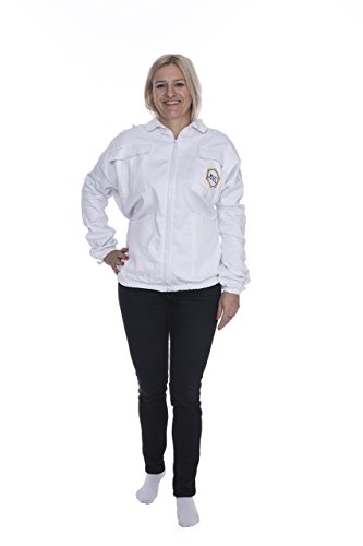 Muzi Professional Beekeeping Jacket with Fancy Veil Front Zipper Poly Cotton Fabric White Sting Proof Guaranteed Elegance (Small) ()