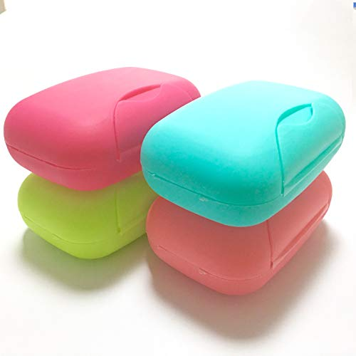 Travel Pack Assortment - Inovat 4 Pcs Plastic Soap Case Holder Container Box Home Outdoor Hiking Camping Travel Assortment Colors