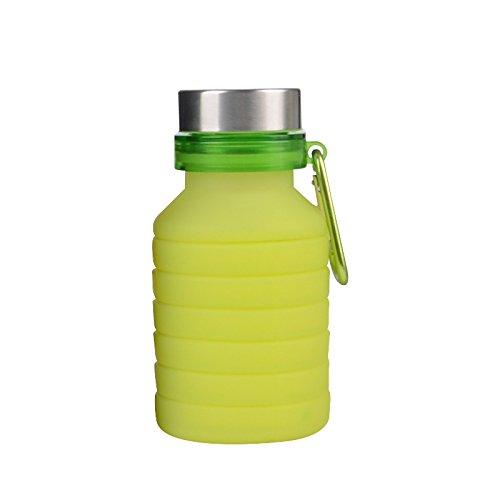 KJia Silicona Plegable Botellas de Agua Deportes Camping Canteen Drinking Bottle Grado mé dico BPA Gratuito