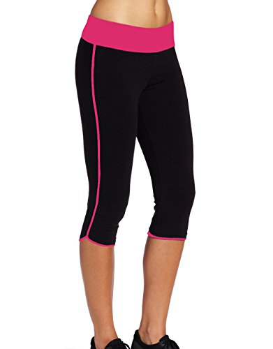 Ladyhers Women's Audel Cotton Yoga Capris Pants Tummy Control Workout Running Leggings 4 Way Stretch