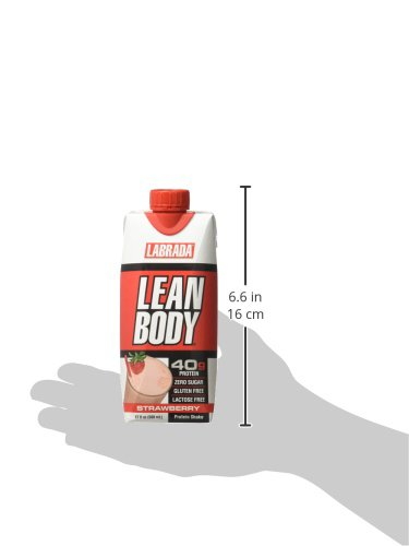 LABRADA NUTRITION - Lean Body RTD Whey Protein Shake, Convenient On-The-Go Meal Replacement Shake for Men & Women, 40 grams of Protein – Zero Sugar, Lactose & Gluten Free, Strawberry (Pack of 12)