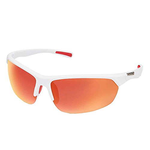 Suncloud Slice Polarized Sunglasses, Matte White, Red - Bag Sunglasses Logo Custom