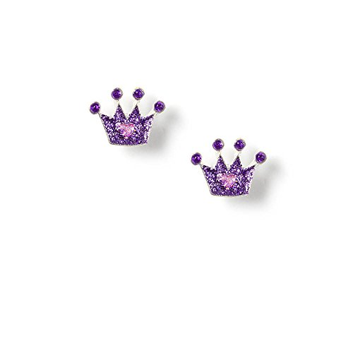 Claire's Accessories Girls Glitter Crown Stud Earrings