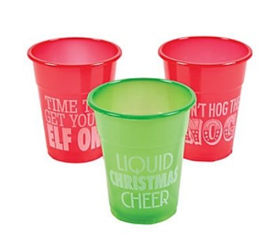 50pc Christmas Holiday Humorous Plastic Drinking Cups - Supplies Christmas Party