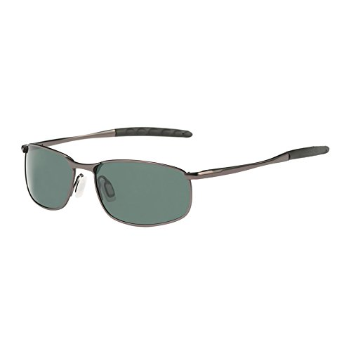 ZHILE 8-base Curve Wrap Metal Frame Polarized Sunglasses for Men (Gray frame G15 lens, 57) ()