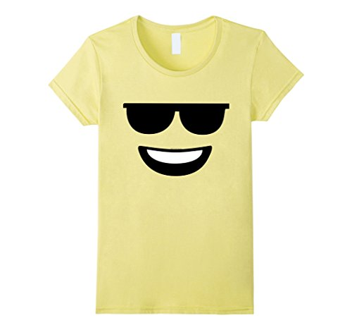 Cool Guys Halloween Costumes (Womens Cool Sunglasses Emoji Instant Halloween Costume T-Shirt Large Lemon)