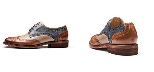 Corte Tamaño Zapatos Las Cordones de de de Gran Mujeres Brogues Browngrey Verano Británicos Trabajo de Zapatos con Zapatos de Zapatos de Cuero TWqTrnP