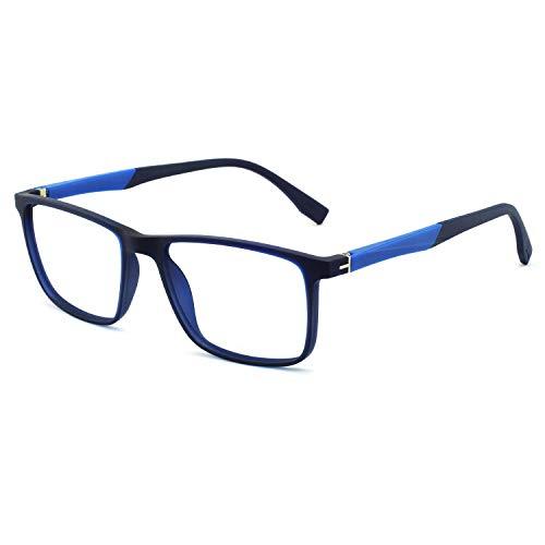 Men Non Prescription Eyeglasses Stylish TR90 Frame with Clear Lense Eyewear Lightweight (Blue)
