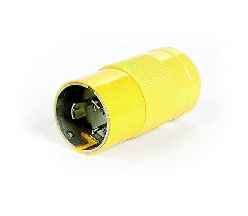 Woodhead CS8365N Safeway Plug, Industrial Duty, Locking Blade, 3 Phase, 3 Poles, 4 Wires, California Style Configuration, Nylon, Yellow, 50A Current, 250V Voltage by Woodhead