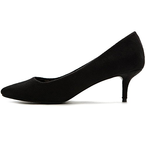 Pointed Sandals Solid Court 6 Ladies Shoes Women's Size Suede Heel Heel Big Mid Size Toe Black Heel Shoes uBeauty High Shoes 5cm q7xpFXw