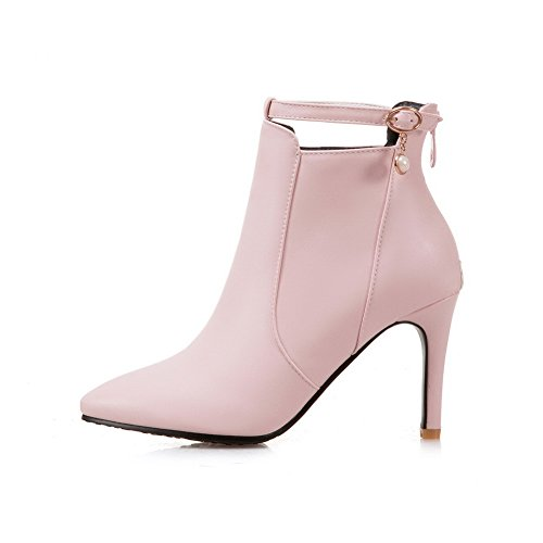 Boots ABL10628 Womens BalaMasa Wrap Stilettos Pink Spikes Toe Ankle Pointed Urethane 8fqz8Zw