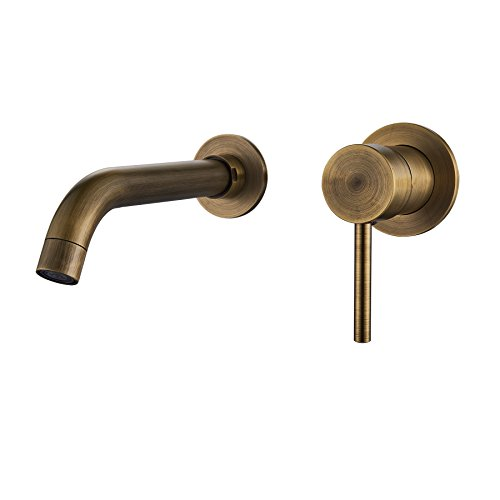 Rozin Wall Mounted Single Handle Bathroom Sink Faucet Vanity Basin Mixer Tap Antique Brass