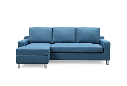 - Container Furniture Direct S0113-L Amelie Linen Upholstered Contemporary Modern Left-Sided Sectional Sofa with Bed, 83.9