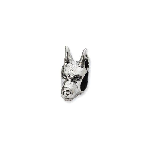 Sterling Silver Doberman Pinscher Head Bead Charm (Doberman Pinscher Dog Charm)