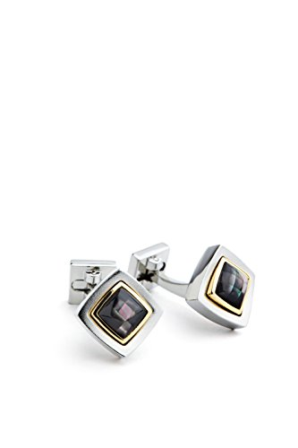 Ike Behar Men's Diamond Shape 2 Tone Cufflink with Mosaic Mop, Black, One - Two Cufflinks Diamond Tone