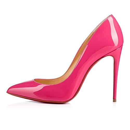 10cm Suela Peep Fondo Pink Puntiaguda Pan Patent 6 Caitlin Mujeres de On 12CM Altos Toe Punta 5CM Slip 10CM Estilete Bombas Roja Rojo Tacones Fiesta v8gqw0gB
