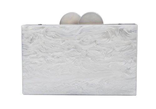 Femmes Soirée Pochette Sac White Messenger Nouveau De White Mode à Acrylique Sac GSHGA Bag Rectangulaire Robe Bandoulière XSnYxOx