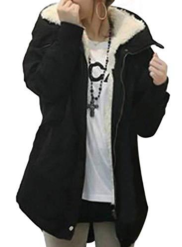Veste Longues À Fermeture Manches Monochrome À Qualité Schwarz Costume Mode Éclair De Confortable D'hiver Manteau Tranchée Manteaux Femmes Haute Cordons Poches Avant Capuche AqgtnzX