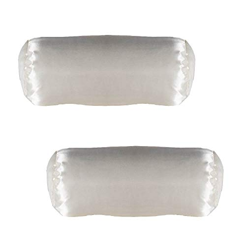 Alex Orthopedic Inc Pack of Two Cervical Neck Roll Pillow Case - White Satin - Super Soft Quality - Made in USA - Easy to Clean