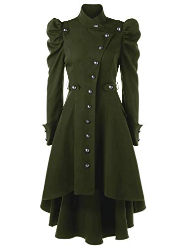 Nihsatin Vintage Womens Steampunk Victorian Swallow Tail Long Trench Coat Jacket Thin Outwear Green