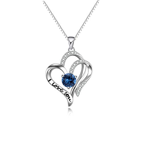 AOBOCO I Love You Engraved Mom Daughter Necklace Heart to Heart Sterling Silver Love Circle Pendant with Sapphire Crystal from Your Lovers Husband Son (White Plated-Blue Crystal)