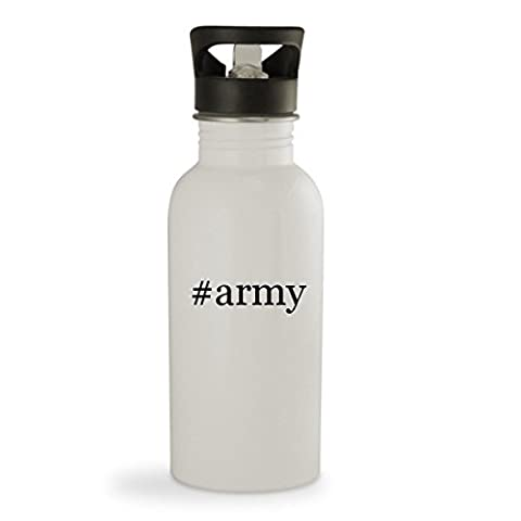#army - 20oz Hashtag Sturdy Stainless Steel Water Bottle, White (The Good Wife Season 6 Watch Now)