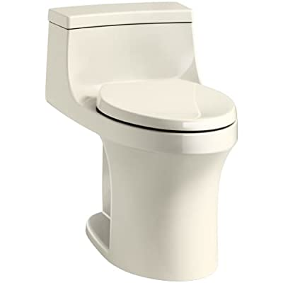 KOHLER San Souci Comfort Height Compact Elongated 1.28 GPF Toilet with AquaPiston Flushing Technology and Right-Hand Trip Lever