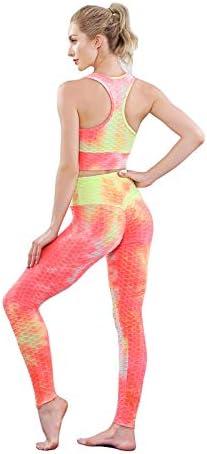 Women Tie-Dye Yoga Set Sport Bra High Waist Shorts Sportswear Gym Workout Suit