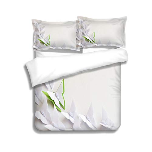 MTSJTliangwan Family Bed Origami Butterflies 3 Piece Bedding Set with Pillow Shams, Queen/Full, Dark Orange White Teal Coral