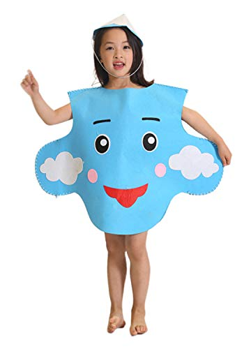 Multifit Unisex Children Halloween Party Sun Cloud Moon DIY Costume Set Cute Performance Costume Suit with Hat(Cloud) Blue -