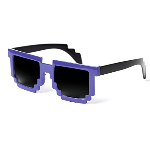 Block Glasses 8-Bit Pixel Video Gamer Geek Costume Party (Bluish Purple/Smoke, 51) ()