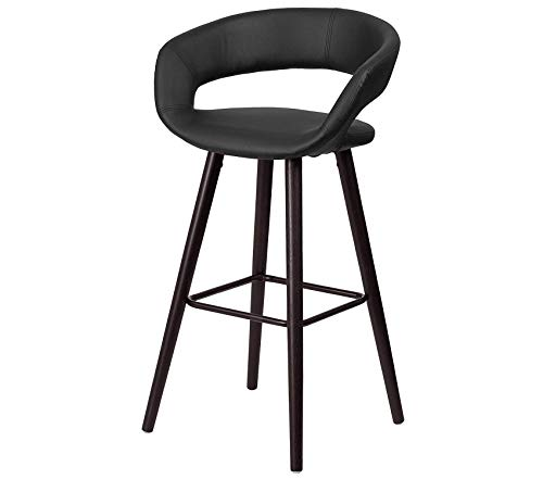 Office Home Furniture Premium Brynn Series 29'' High Contemporary Cappuccino Wood Barstool in Black Vinyl