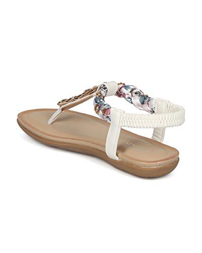 Women Braided T-Strap Rhinestone Leaves Accent Flat Sandal - HG25 by Liliana Collection White Mix Media tChNsOreXV