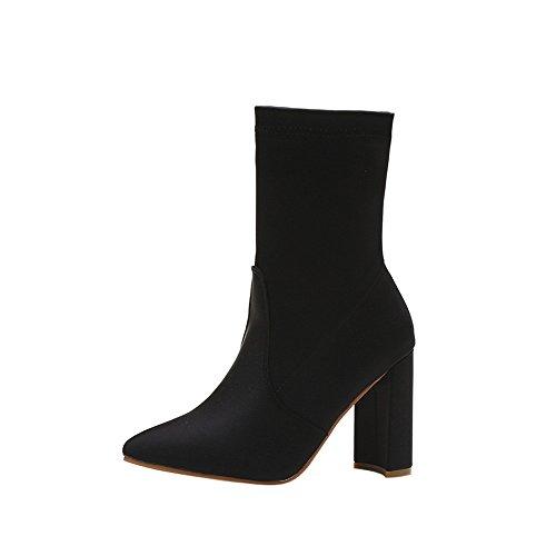 Zapatos de de Tacones Moda Cortos Tubo 40 MYQyiyi Botas 5 Cortas Mujer por de Negro SqgC5wgn