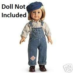 (American Girl Kit's Hobo Bib Overalls Outfit with Hat for 18