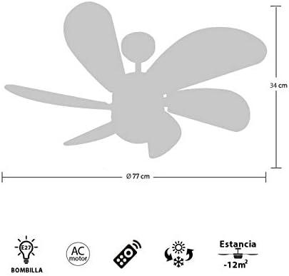 FABRILAMP Ventilador de techo con luz Led Serie Delfín Niquel Aspas Haya 13W 4000K con Mando: Amazon.es: Hogar
