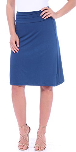 Popana Women's Casual Stretch Midi Knee Length Short Summer Skirt - Made in USA X-Large Teal