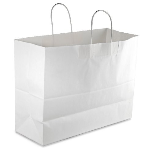 Retail Paper Shopping Bag Duro TOTE 16x6x12 WHITE w/ Bonus FDL Picks by Duro   B00R0CKFJM