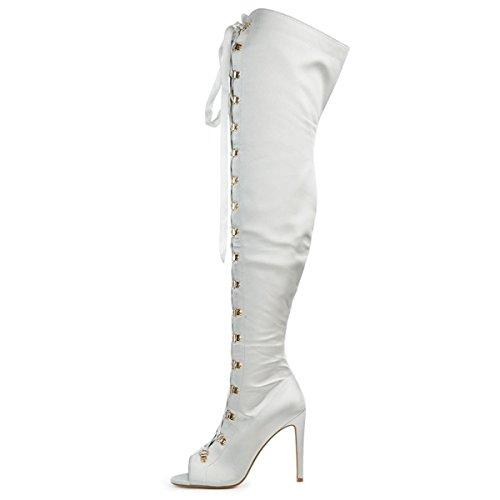 Cape Robbin GF61 Women Satin Thigh High Peep Toe Lace Up Stiletto Boot GG61 - Grey (Size: - Satin Heart Highs Thigh