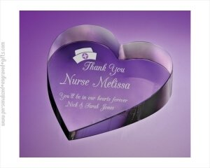 ANEDesigns Personalized Pure Optical Crystal Heart Paperweights
