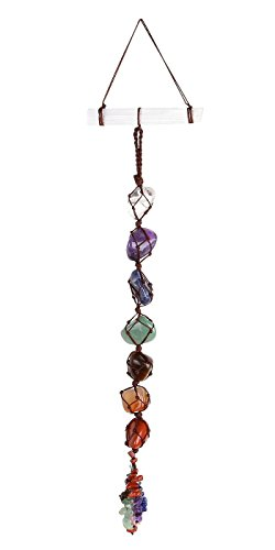 PESOENTH 7 Chakra Tumbled Gemstones Feng Shui Crystal Window Hanging Ornament Selenite Stick Healing Wand Home Car Decoration for Reiki Healing Yoga Meditation,Crystal Therapy,Worry Palm Stones ()