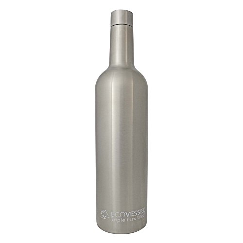 - EcoVessel Vine TriMax Triple Insulated Stainless Steel Wine Bottle with Silicone Funnel and Cleaning Brush - Silver - 25 Ounce