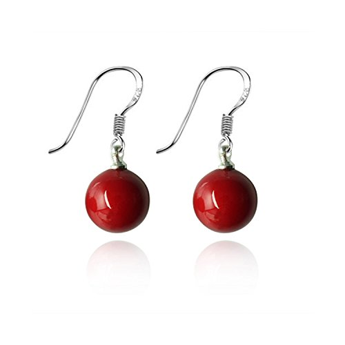Lureme 10mm Perfect Round Red Natural Stone Silver Tone French Hook Drop Earrings for Women 02001504