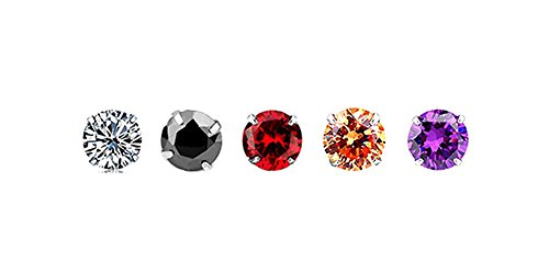White Gold-Plated 925 Sterling Silver Round-Cut Cubic Zirconia Stud Earrings 3MM-8MM Set (Black+Champagne gold+Purple+Red+White (5 MM,5 Pairs/Same Size,Different color))