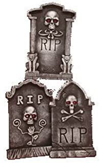 set of 3 15 asst halloween tombstones with jewel eyes props decorations